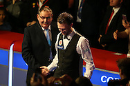 Welsh snooker legend Ray Reardon (l) chats to runner up Judd Trump after the match.  Coral Welsh Open Snooker 2017, final match, Judd Trump of England v Stuart Bingham of England at the Motorpoint Arena in Cardiff, South Wales on Sunday 19th February 2017.<br /> pic by Andrew Orchard, Andrew Orchard sports photography.