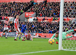 Riyad Mahrez of Leicester City watches as his shot goes jus wide of the post - Mandatory by-line: Paul Roberts/JMP - 04/11/2017 - FOOTBALL - Bet365 Stadium - Stoke-on-Trent, England - Stoke City v Leicester City - Premier League