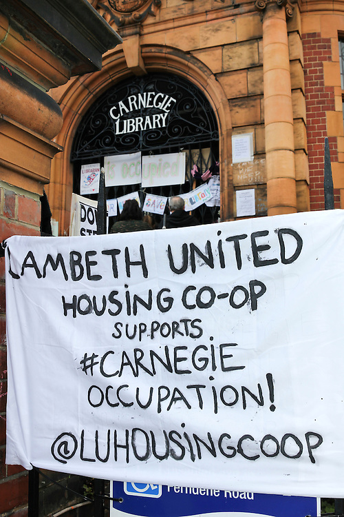 Carnegie Library in Herne Hill, South London. <br /> A peaceful occupation by the local community is ongoing at Carnegie Library to protest against library closures in Lambeth and to seek their reinstatement.<br /> The occupation enters its 6th day, around 30 people still inside the library.  Lambeth Council has prevented people entering or re-entering the building since Friday afternoon. On Monday 4th April, Lambeth Council served an IPO (Interim Possession Order) with a court hearing set for this Friday. Protesters will remain in as long as they can. A gym is planned to replace the  library