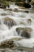 View of small waterfall in a stream, Routeburn Track, South Island, New Zealand