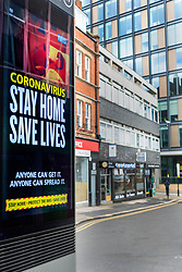 """Sheffield Friday 3 April 2020 <br /> Coronavirus Covid-19 """"Stay Home Saves Lives"""" sign on an electric advertising hoarding located on Charles Street just of the Moore<br /> <br /> 3 April 2020<br /> <br /> www.pauldaviddrabble.co.uk<br /> All Images Copyright Paul David Drabble - <br /> All rights Reserved - <br /> Moral Rights Asserted -"""