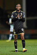 Jimmy Abdou (8) of AFC Wimbledon at full time applauds the travelling fans after a 2-0 loss to Yeovil during the EFL Trophy match between Yeovil Town and AFC Wimbledon at Huish Park, Yeovil, England on 5 December 2017. Photo by Graham Hunt.