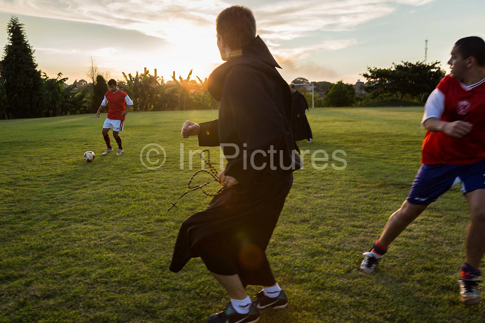 Priests from Santo Tomas de Vilanova seminary, play football against a team of international theology and philosophy students in Ourinhos, Brazil