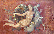 Roman fresco wall painting of a Nereid lying on a sea horse  from the  triclinium,  a formal dining room, of the Villa Arianna (Adriana), Stabiae (Stabia) near Pompeii , inv 8859, Naples National Archaeological Museum .<br /> <br /> If you prefer to buy from our ALAMY PHOTO LIBRARY  Collection visit : https://www.alamy.com/portfolio/paul-williams-funkystock - Scroll down and type - Roman Fresco Naples  - into LOWER search box. {TIP - Refine search by adding a background colour as well}.<br /> <br /> Visit our ROMAN ART & HISTORIC SITES PHOTO COLLECTIONS for more photos to download or buy as wall art prints https://funkystock.photoshelter.com/gallery-collection/The-Romans-Art-Artefacts-Antiquities-Historic-Sites-Pictures-Images/C0000r2uLJJo9_s0