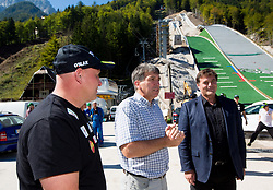 Goran Janus, Jelko Gros and Drago Balent at media day of Slovenian Ski jumping team during construction of two new ski jumping hills HS 135 and HS 105, on September 18, 2012 in Planica, Slovenia. (Photo By Vid Ponikvar / Sportida)
