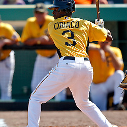 February 25, 2011; Bradenton, FL, USA; Pittsburgh Pirates shortstop Pedro Ciriaco (3) during a spring training exhibition game against the State College of Florida Manatees at McKechnie Field. The Pirates defeated the Manatees 21-1. Mandatory Credit: Derick E. Hingle