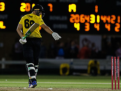 Gloucestershire's Andrew Tye walks off disconsolate at being bowled on the last ball<br /> <br /> Photographer Simon King/Replay Images<br /> <br /> Vitality Blast T20 - Round 8 - Glamorgan v Gloucestershire - Friday 3rd August 2018 - Sophia Gardens - Cardiff<br /> <br /> World Copyright © Replay Images . All rights reserved. info@replayimages.co.uk - http://replayimages.co.uk