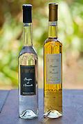 La Fornace Grappa di Brunello bottle and Riserva bottle at wine estate of La Fornace in Val D'Orcia, Tuscany, Italy