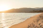 Beach at sunset, Ajaccio, Corsica, France