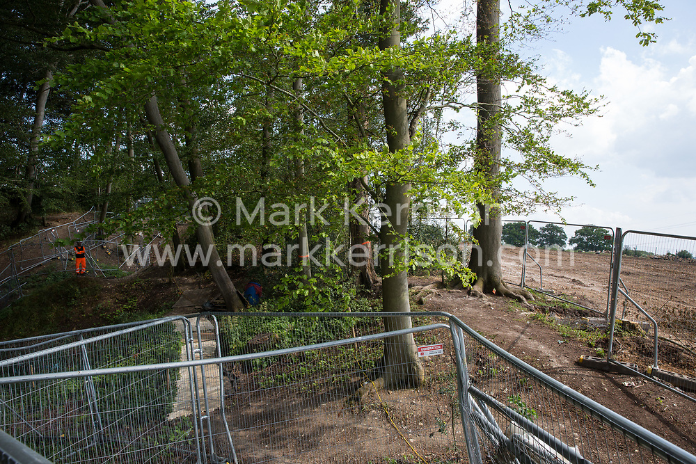 An area of ancient woodland at Jones Hill Wood in Buckinghamshire cleared of trees and vegetation for the HS2 high-speed rail link is pictured from an area that will remain on 16th June 2021 in Wendover, United Kingdom. Jones Hill Wood qualifies as lowland mixed deciduous woodland, a habitat of principal importance, and contains resting places and/or breeding sites for pipistrelle, barbastelle, noctule, brown long-eared and natterer's bats.