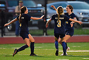 Althoff players Tori Calvert (left) and Julia ONeill (center) run towards Althoff midfielder Regan Moody - who scored four of the five Althoff goals - after Althoff beat Columbia in the sectional championship game at Althoff High School in Belleville, IL on Friday June 11, 2021. <br /> Tim Vizer/Special to STLhighschoolsports.com