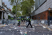 London, United Kingdom, May 15, 2021: Police gather outside the Israeli Embassy after a rally of pro-Palestinian protesters dispersed outside this evening in central London on Saturday, May 15, 2021. 13 people have been arrested and remain in custody, as well as nine police officers were injured as they attempted to disperse crowds outside the Israeli Embassy in Kensington, MET police said. (Photo by Vudi Xhymshiti/VXP)