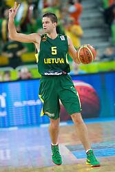 Mantas Kalnietis #5 of Lithuania during basketball match between national team of Ukraine and Lithuania of Eurobasket 2013 on September 15, 2013 in SRC Stozice, Ljubljana, Slovenia. (Photo By Matic Klansek Velej / Sportida.com)