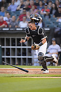 CHICAGO - JULY 24:  James McCann #33 of the Chicago White Sox catches against the Miami Marlins on July 24, 2019 at Guaranteed Rate Field in Chicago, Illinois.  (Photo by Ron Vesely)  Subject:   James McCann