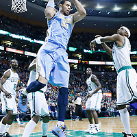 10 February 2013: Denver Nuggets center JaVale McGee (34) grabs a rebound during the Boston Celtics 118-114 3OT victory over the Denver Nuggets at the TD Garden, Boston, Massachusetts, USA.