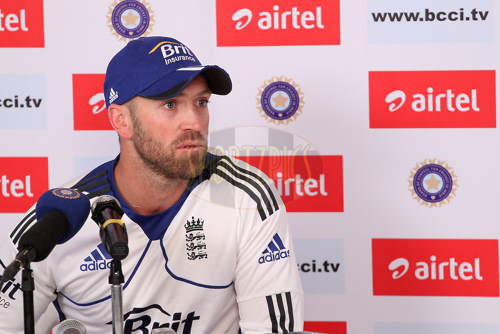 Matt Prior of England addresses the media during the press conference at the end of the days play during day three of the 1st Airtel Test Match between India and England held at the Sadar Patel Stadium in Ahmedabad, Gujarat, India on the 17th November 2012...Photo by Ron Gaunt/ BCCI/ SPORTZPICS..Use of this image is subject to the terms and conditions as outlined by the BCCI. These terms can be found by following this link:..http://www.sportzpics.co.za/image/I0000SoRagM2cIEc