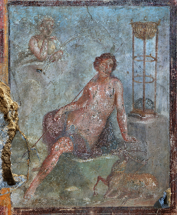 Fresco of Diana the huntress, painted in the Fourth Pompeiian style, in the oecus of the House of the Prince of Naples, or Casa del Principe di Napoli, in the Parco Archeologico di Pompei, or Archaeological Park of Pompeii, Campania, Italy. Pompeii was a Roman city which was buried in ash after the eruption of Vesuvius in 79 AD. The site is listed as a UNESCO World Heritage Site. Picture by Manuel Cohen