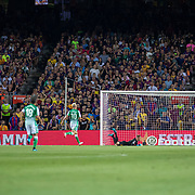 BARCELONA, SPAIN - August 25:  Nabil Fekir #8 of Real Betis scores his sides first goal during the Barcelona V  Real Betis, La Liga regular season match at  Estadio Camp Nou on August 25th 2019 in Barcelona, Spain. (Photo by Tim Clayton/Corbis via Getty Images)