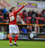 Swindon Town's Anton Rodgers celebrates his goal during the Sky Bet League 1 match between Swindon Town and Leyton Orient at the County Ground, Swindon, England on 3 May 2015. Photo by Mark Davies.