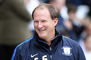 Preston North End Manager Simon Grayson looks on prior to kick off. Skybet football league championship match, Preston North End v Cardiff City at the Deepdale stadium in Preston, Lancashire on Saturday 17th October 2105.<br /> pic by Chris Stading, Andrew Orchard sports photography.