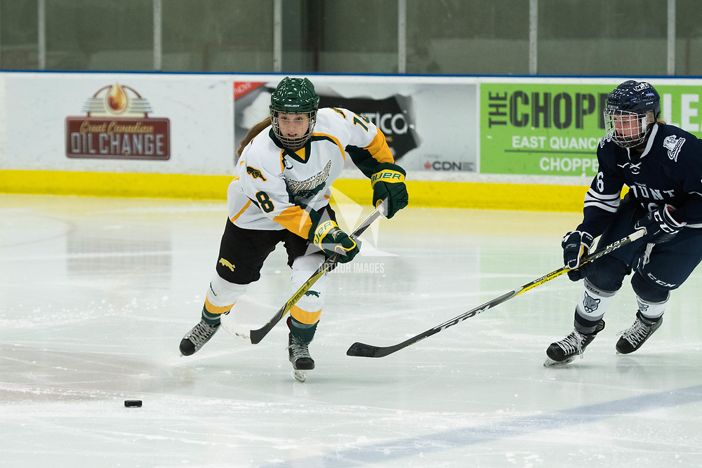 1st year forward Jordan Kulbida (18) of the Regina Cougars in action during the Women's Hockey home game on October 13 at Co-operators arena. Credit: Arthur Ward/Arthur Images