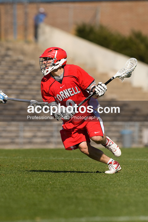 02 March 2008: Cornell Big Red attackman John Espey (9) during a 13-8 loss to the North Carolina Tar Heels on Fetzer Field in Chapel Hill, NC.