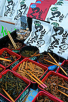 Japanese Pickles - Tsukemono are Japanese pickles. They are served  as a side dish, and sometimes with drinks as a snack. The most common kinds are pickled in salt or brine.  Soy sauce, miso, vinegar, and sake lees are also useful for pickling. Takuan, daikon, turnips, cucumber, and cabbage are among the favorites to be eaten as an accompaniment to a meal.