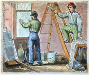 Glazier and paper hanger working in a house. From 'Alphabet des Arts et Metiers' (Paris, 1867).
