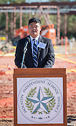 Timothy Chung comments during a groundbreaking ceremony for the new Energy Institute High School, November 19, 2016.
