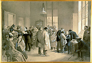 Patients bitten by rabid dogs being inoculated against hydrophobia at the laboratory of the Ecole Normale, Paris, 1886, Louis Pasteur is on right of group on left holding sheets of paper. Painting by Emile Bayard (1837-1891).