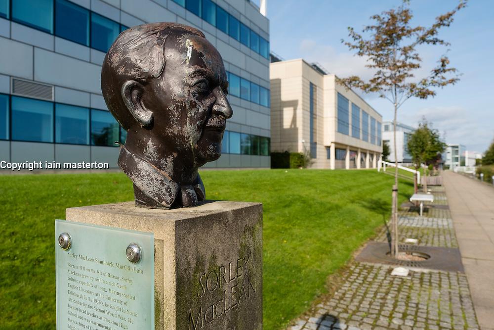 Bust of Scottish Poet Sorley MacLean  at Edinburgh Park a modern business park at South Gyle in Edinburgh, Scotland, United Kingdom.