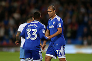Marouane Chamakh of Cardiff city ® with Junior Hoilett of Cardiff city (l). EFL Skybet championship match, Cardiff city v Sheffield Wednesday at the Cardiff city stadium in Cardiff, South Wales on Wednesday 19th October 2016.<br /> pic by Andrew Orchard, Andrew Orchard sports photography.
