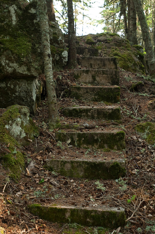 An old stone walkway at Belle Isle at Isle Royale National Park.