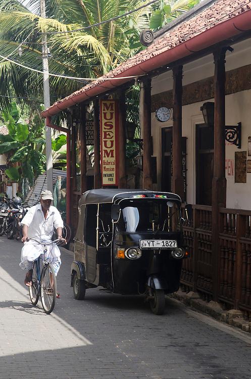 Tuktuk parked outside of museum in Galle Fort, Sri Lanka