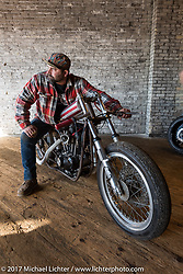 Kevin Teach Baas on his 1977 XLD Harley-Davidson Ironhead drag bike at the Mama Tried Bike Show. Milwaukee, WI, USA. Saturday, February 18, 2017. Photography ©2017 Michael Lichter.