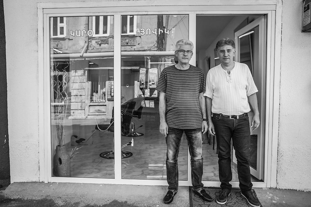 Barbers on Khogbatsi Street. From the Displaced series. Yerevan, Armenia August 2015.
