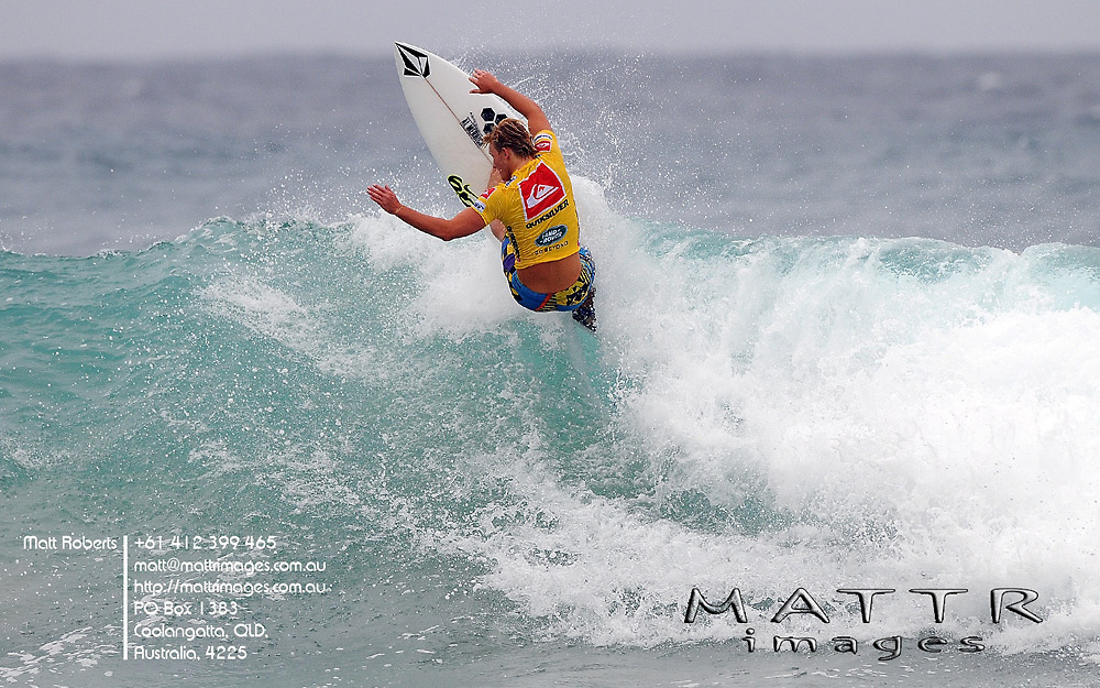 Gold Coast, Australia - February 27: Dusty Payne 11.60pts advance through to round 3 even though he snapped his board 1st wave into his ASP  World Tour career during round 1 of the Quiksilver Pro Gold Coast 2010 presented by Land Rover at Snapper Rocks on the Gold Coast, February 27, 2010 Photo by Matt Roberts/MATTRimages.com.au