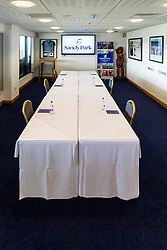 Exeter Chiefs hospitality spaces set up with social distancing in mind after the Covid-19 enforced season break - Rogan/JMP - 19/06/2020 - RUGBY UNION - Sandy Park - Exeter, England - Gallagher Premiership.