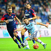 Fenerbahce's Volkan Sen (R) during their Turkish Super League soccer match Mersin Idman Yurdu between Fenerbahce at the Mersin stadium in Mersin Turkey on Saturday 21 November 2015. Photo by TVPN/TURKPIX