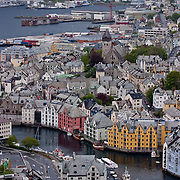 Three weeks aboard the Kong Harald. Hurtigruten, the Coastal Express. The old city of Alesund from Fjellstua.