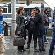 """Amsterdam, 17-04-2013. Op het Leidseplein te Amsterdam, voor hotel Americain, vonden opnames plaats van de KRO-misdaadserie Penoza III. Een aantal zwaarbewapende """"agenten"""" verrichtten een nogal spectaculaire arrestatie uit. Ook in Penoza III is de leidende rol weggelegd voor Carmen, gespeeld door Monic Hendrickx. Op de foto hoofdrolspeelster Monic Hendrickx in haar rol als Carmen."""