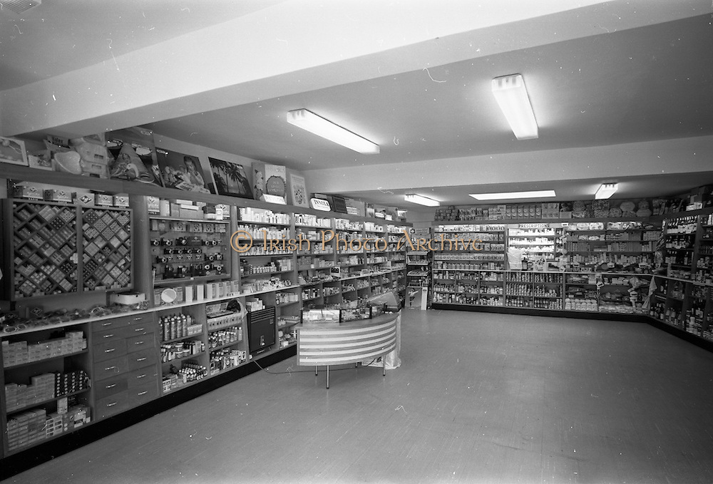 12/06/1967<br /> 06/12/1967<br /> 12 June 1967<br /> Interior and exterior of Freynes and Co. Ltd. Chemist, Clondalkin Dublin. Interior view of shop.