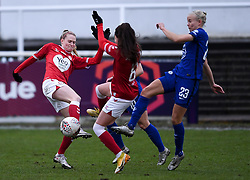 Molly Pike of Bristol City Women challenges Pernille Harder of Chelsea Women - Mandatory by-line: Ryan Hiscott/JMP - 14/02/2021 - FOOTBALL - Twerton Park - Bath, England - Bristol City Women v Chelsea Women - FA Womens Super League 1