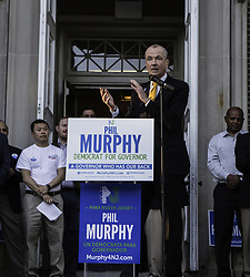 June 2, 2017 - Plainfield, Plainfield, U.S - PHIL MURPHY, Democratic Gubernatorial Candidate, campaigns at City Hall in Plainfield, New Jersey before the June 6 state primary. This the first such primar race since the 2016 Presidential elections. (Credit Image: © Brian Branch Price via ZUMA Wire)