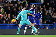 Goalkeeper Thibaut Courtois of Chelsea in action. Barclays Premier league match, Chelsea v AFC Bournemouth at Stamford Bridge in London on Saturday 5th December 2015.<br /> pic by John Patrick Fletcher, Andrew Orchard sports photography.