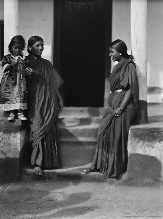 Two Brahmin Ladies with a Child Talking Outside a House, India, 1929
