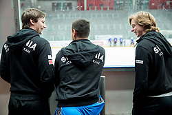 Blaz Gregorc, Gasper Kroselj and Ziga Jeglic during first meeting of Slovenian Ice Hockey National Team for IIHF World Championships Ostrava 2015, on April 5, 2015 in Arena Podmezakla, Jesenice, Slovenia. Photo by Vid Ponikvar / Sportida
