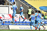 The Coventry City players celebrate Oxford United defender John Mousinho (15) own goal 0-1 during the EFL Sky Bet League 1 match between Oxford United and Coventry City at the Kassam Stadium, Oxford, England on 9 September 2018.