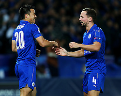 Shinji Okazaki of Leicester City celebrates with Danny Drinkwater - Mandatory by-line: Matt McNulty/JMP - 22/11/2016 - FOOTBALL - King Power Stadium - Leicester, England - Leicester City v Club Brugge - UEFA Champions League