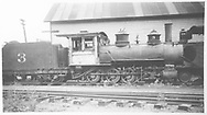 """RGS 2-8-0 #3 parked in Durango.<br /> RGS  Durango, CO  Taken by Rogers, Donald E. A. - 1930-1939<br /> In book """"RGS Story, The Vol. XII: Locomotives and Rolling Stock"""" page 19<br /> See RD155-014 for original."""